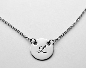 Initial necklace - Silver initial necklace - Stainless Steel initial necklace