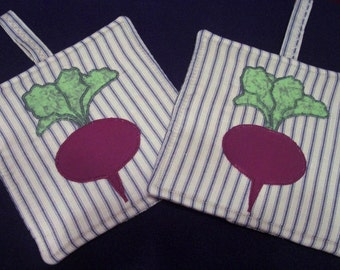 Primitive Whimsical Country Kitchen GARDEN BEETS Potholders Hot Pads Trivets