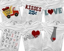 Valentine Bundle Pack - Iron on Tie Shirt PDF / Boys Valentine Outfit / Valentine's Day Clothing / Kisses 25 Cents / Toddler Boys Clothes -D