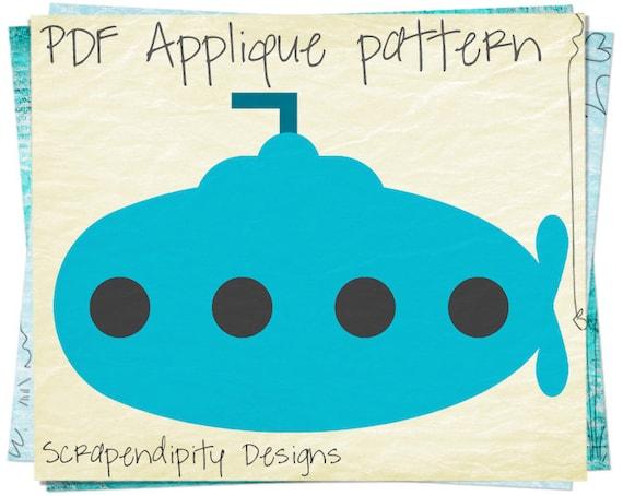 Submarine Applique Template - Ocean Applique Pattern / Infant Blanket Pattern / Submarine Quilt Pattern / Ocean Theme Nursery / DIY AP369-D