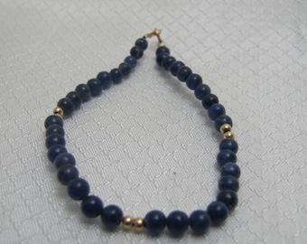 Vintage Blue Lapis Luzuli and 14kt Yellow Gold Bead Bracelet