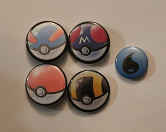 1.25 inch Pokeball Button