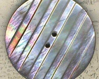 Big Vintage Iridescent Carved Mother of Pearl Shell Coat Button 1-1/2 inch 37mm MOP Sewing Button