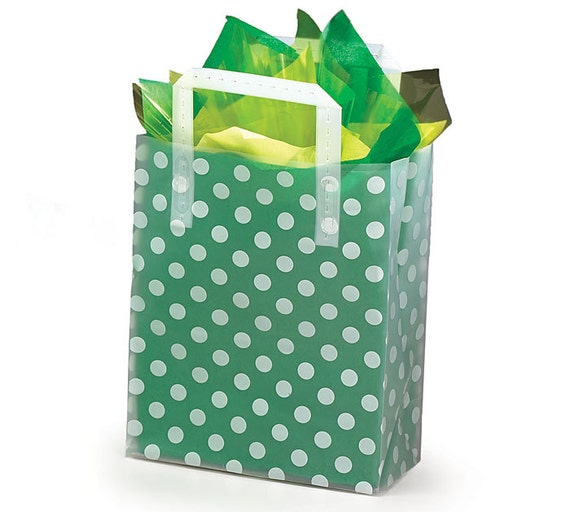 Plastic white polkadots frosted retail gift bags totes with
