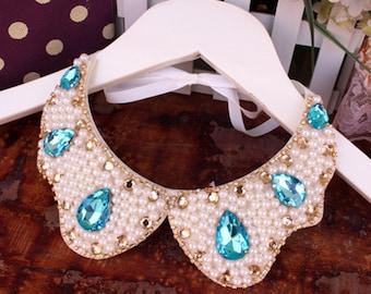 Blue diamond Pearl beaded Detachable collar yoke Necklace