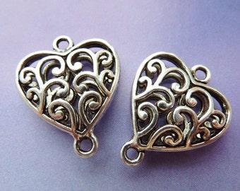 4 connectors, heart, Oktoberfest, bavarian, antique silver
