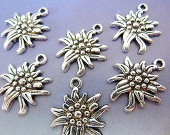 50 pendants, edelweiss flower, Oktoberfest, bavarian, antique silver