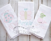 Appliqued Burp Cloth Set- Personalized (Butterfly, Ladybug, Whale)
