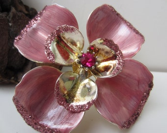 Cute Pink Enamel and Glitter Flower Brooch