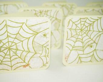 Halloween Cards, Mini Cards 3x3 Halloween Cards, Spider Cards, Spider Web Cards, Creepy Crawly Cards, Spider Halloween Cards, Square Cards