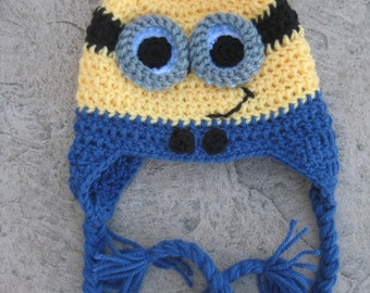 Yellow and Blue Minion Inspired Earflap Hat