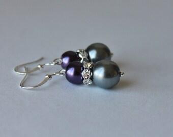 Purple and Charcoal Gray Pearl Rhinestone Earrings