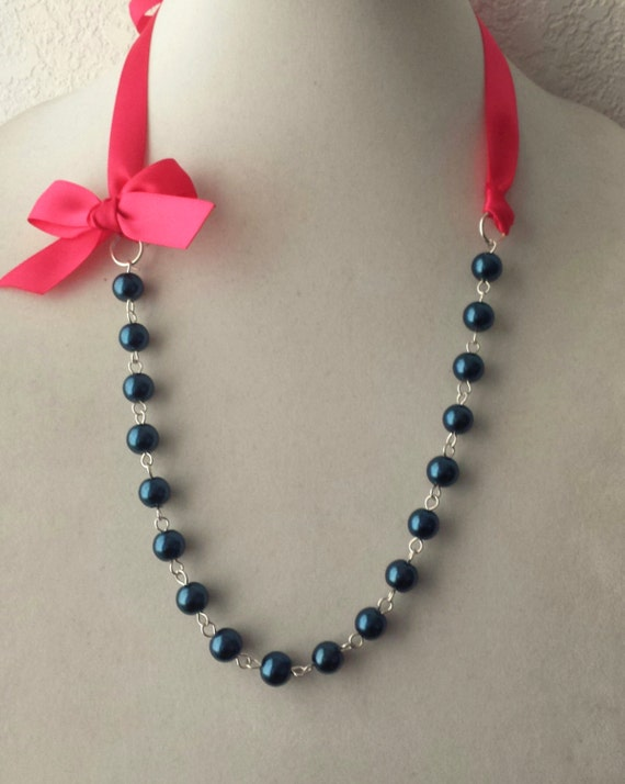 Navy Pearl and Hot Pink Ribbon Bow Necklace