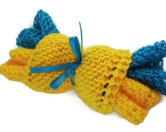 Hand Knitted Yellow Blue Wash Cloth Set of 4 wash sponge blue sponge yellow sponge