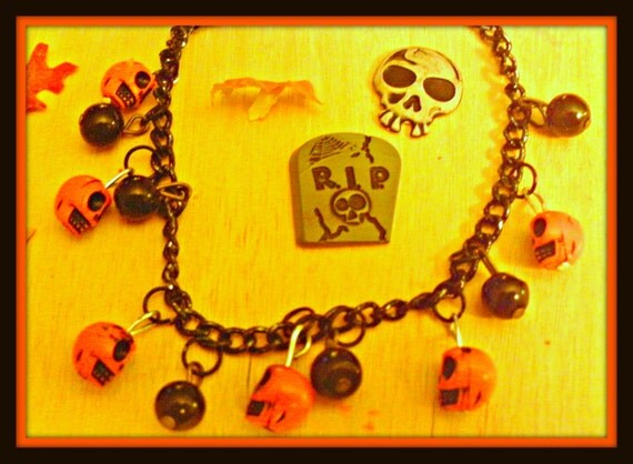 Halloween Skull Charm Bracelet