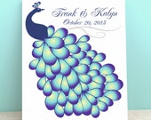 Wedding Guest Book Canvas - Peacock Wedding Gallery Wrapped Canvas Print - The Peawik - Peachwik Interactive Guest Book Canvas - 50 guests