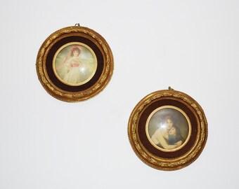 Vintage Portraits Italian Cameo Gold Gilt Cameo Set of 2 Portraits Round Frames Cameo Wall Hanging