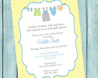 Printable Clothesline Baby Shower Invitation.  Printable Baby Boy Chevron Shower Invitation.  Chevron Clothesline Invitation