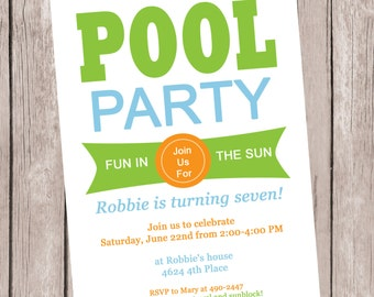 Pool Party Invitation.  Pool Party Invite.  Birthday Party invite.  Printable Pool Party Invitation.