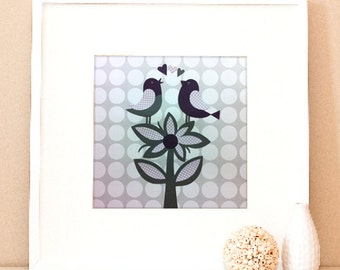 Modern Children's Paper Wall Art - Birds on a Flower - 12 x 12 or 8 x 10 - Grey and Purple or Custom Color