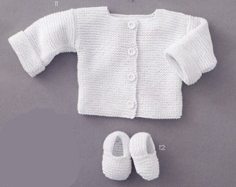 ENGLISH Super Easy Baby Cardigan and Slippers Beginners Knitting Pattern PDF