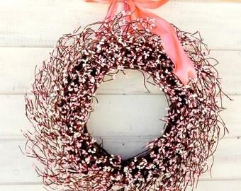 Spring Wreath-Weddings-Wedding Decor-Pink Berry Wreath-Shabby Chic Wedding-Baby Girl Nursery Decor-Baby Shower Gift-PINK & WHITE Wreath-Gift