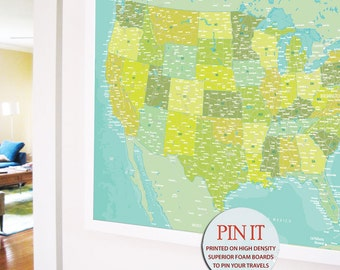 USA Detailed Map of USA, 24X36 Inches, Gift for travelers, Travel Map, Push Pin Travel, US States