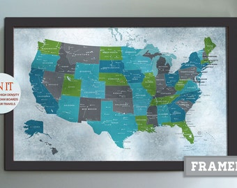 LARGE FRAMED World Map X Inches Weathered World - Large framed us map