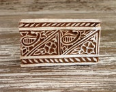 Paisley Flower Printing Block, Hand Carved Wood Stamp, Border Stamp, Textile Pottery Clay Ceramics Stamp, Henna Tattoo Mehndi Stamp India