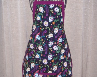 Island Day of the Dead Adult Apron colorful flower headed day of the dead heads colored grills
