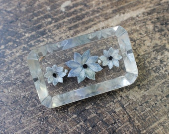 Lucite Brooch / Dusty Blue 1950's Floral Jewelry / Clear Vintage Pin