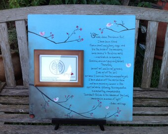 """Baha'i writings. Customize your own picture frame, quote, song, lyric, anniversary, bridal shower. 18""""x18"""" by Ladybug Design by Eu"""