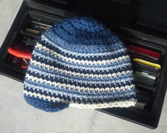 Alpaca Men's Crochet Hat with Brim - Royal Navy Denim Ice Blue White Striped Wool Winter Cap Beanie Skiing (One Size - Ready to Ship)