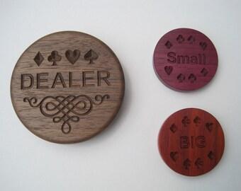 Deluxe Poker Dealer Button and Blinds Set - Engraved Black Walnut, Purpleheart and Orange Paudak