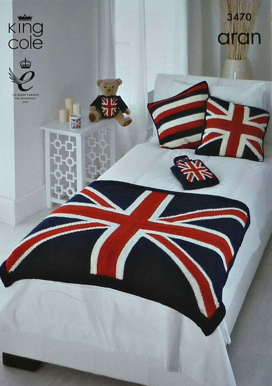 Knitting Pattern Union Jack Cushion Cover : Blanket Knitting Pattern K3470 Union Jack Throw Cushion Cover
