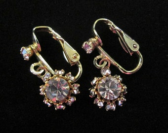Mauve Rhinestone Earrings Vintage 1980's Clip On Dangle