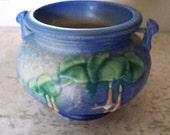 Roseville Pottery Fuchsia Jardiniere 1939 Blue Planter Vase Marine Blue Hues of Blue Pottery