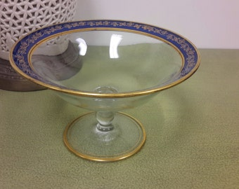 STUNNING HEISEY GLASS Pedestal Bowl Royal Blue and Gold With Moriage Decoration Serving or Fruit Bowl