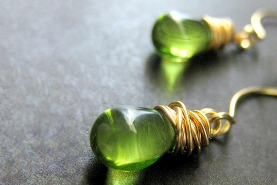 Gold Earrings. Glass Teardrop Earrings in Gold. Dangle Earrings. Drop Earrings. Wire Wrapped Earrings. Elixir Earrings. Handmade Jewelry.
