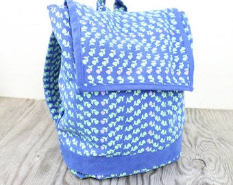 Bright Blue Flowered Backpack Satchel