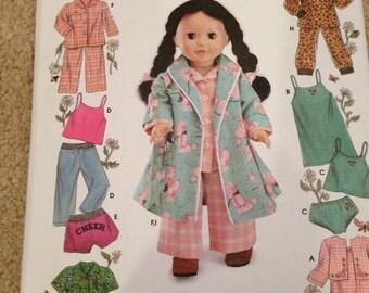 Uncut Doll PJ pattern Simplicity 5276 fits american girl doll 18 inch