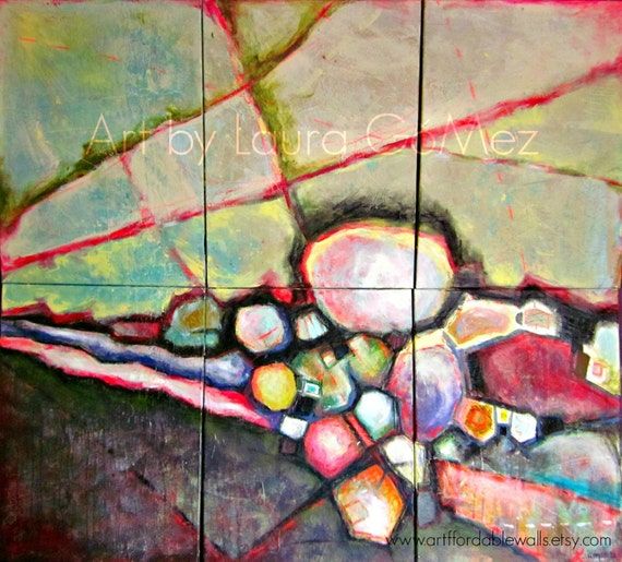 """FREE SHIPPING Efectos Colaterales- Collateral Effects Huge Abstract Art - Original Abstract Painting by Laura Gomez- 57X49"""" Mural look alike"""