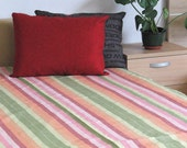 "Bed Linen Sheet Eco friendly Pink Red Green Striped 87"" x 59"""