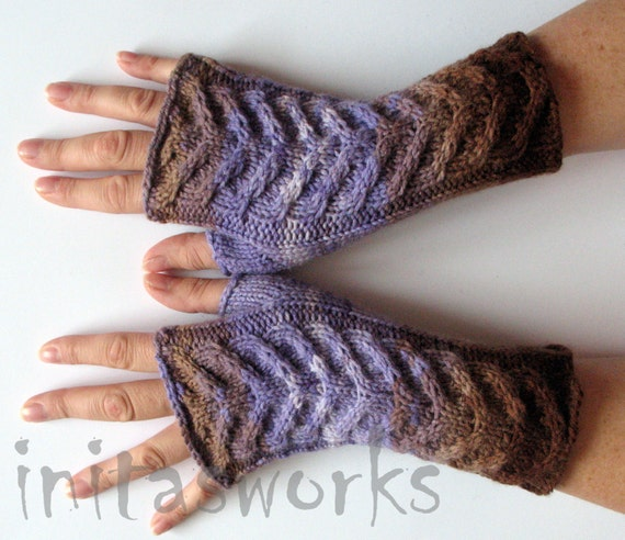 Fingerless Gloves Brown Beige Violet Purple Arm Warmers Knit Soft