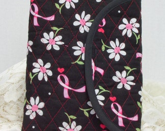 Small Quilted Journal - White Daisies on Black Breast Cancer Awareness Small Quilted Journal
