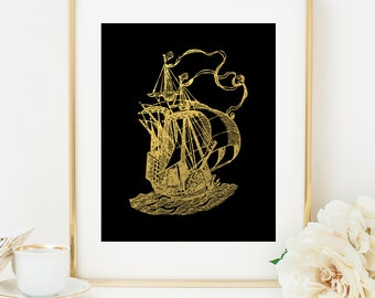 SAILING SHIP 2 Faux Gold Foil Art Print, Black & Gold, Imitation Gold Leaf, Nautical Art Print, Gold Ship, Beach Decor, Nautical Decor