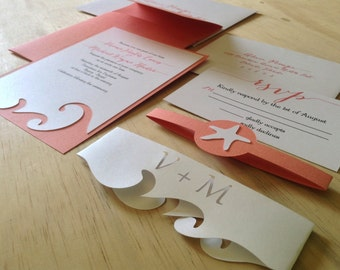 Beach Wedding Invitation - Destination Wedding Invitation  - SAMPLE -