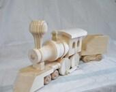 Natural Wood - Wooden Train - Children - Toys - Train Engine - Tender Car - Handmade Toy- Waldorf Train - Pretend Creative Play