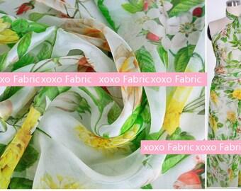 Silk Chiffon Fabric yellow roses in spring fashion design silk supplies