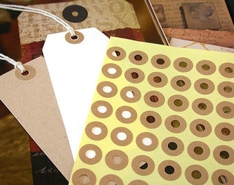 Kraft Ring Label Stickers For Gift tag (240 pieces)